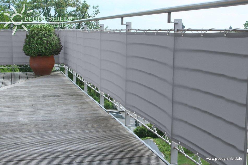 brise vue pour balcons 75 x 300 cm couleur gris clair brise vent pour balcon ou terrasse. Black Bedroom Furniture Sets. Home Design Ideas