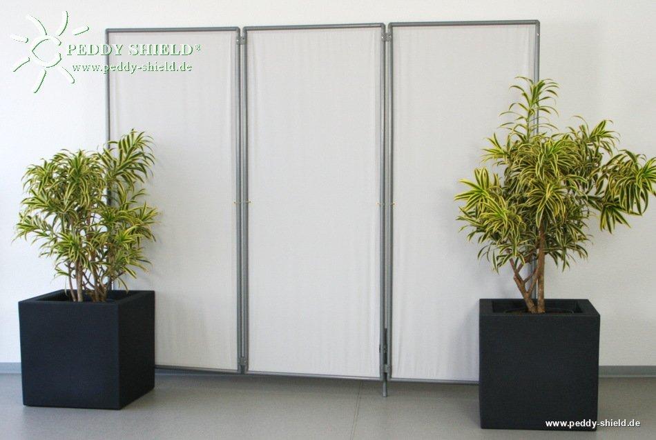 Galerie photos paravent pliable 3 panneaux gris clair for Paravent exterieur pour balcon